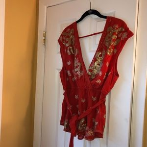 Free People Rust Gold Embroidered/Beaded Blouse M